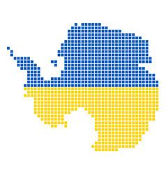 Ukraine colors dot antarctica map vector
