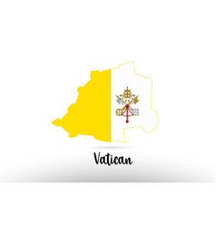Vatican country flag inside map contour design vector