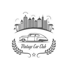 Vintage car club logotype vector
