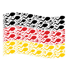 Waving germany flag collage of spermatozoon icons vector