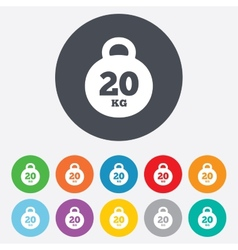 Weight sign icon 20 kilogram kg Sport symbol vector