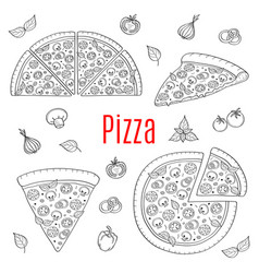 Whole and slices pizza set hand drawn vector