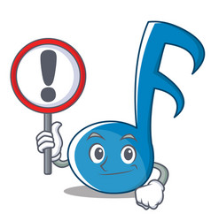 with sign music note character cartoon vector image