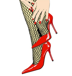 Woman with sensual fishnet stockings and red shoes vector image