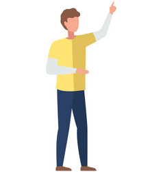 Young faceless man pointing away hand up vector