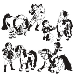 girl and pony black and white vector image vector image