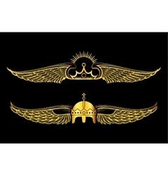 Set of golden winged crowns logos black background vector image vector image