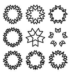 sunbursts and borders set vector image