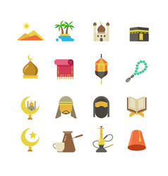 arabic muslim culture icons arabian vector image