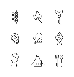 Barbecue and grill line icons vector image