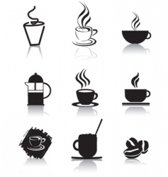 coffee icons silhouette vector image vector image
