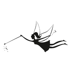 Fairy black silhouette with a magic wand vector image vector image