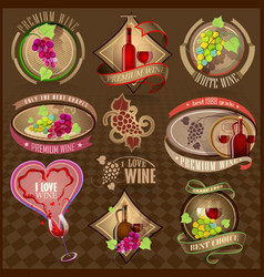 Set of retro labels for wine vector image vector image