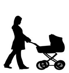 silhouette of a woman pushing a stroller vector image
