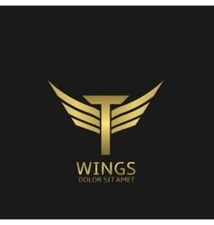 Wings T letter logo vector image