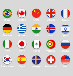 world flags round icons set vector image vector image