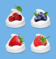 berries and yogurt realistic vector image vector image