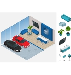 Commercially colorful cars stand in car shop vector image vector image