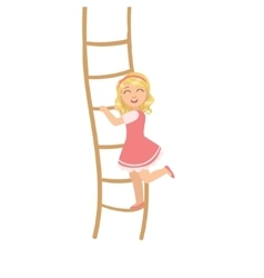 Girl in pink dress climbing rope ladder vector