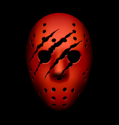 Red hockey mask with traces of claws vector