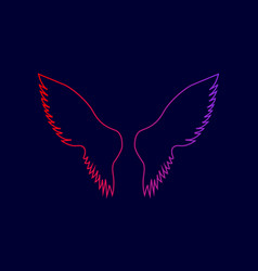 wings sign line icon with vector image