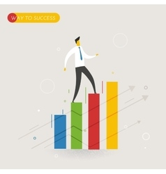 Businessman climbing graph career success vector image