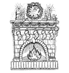 drawing of fire place with christmas decorations vector image