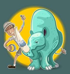 Eco Warrior Man Plasters Rhinoceros Horn vector image