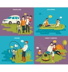 Family with kids concept flat icons set of vector image vector image