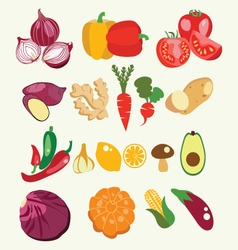 fresh and healthy food Vegetables made in flat vector image vector image
