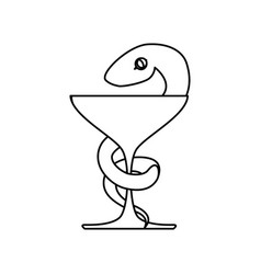 isolated caduceus snake emblem vector image