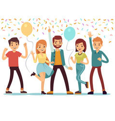 laughing and dancing young people at party happy vector image vector image