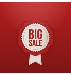 Realistic big Sale red Label and white Ribbon vector image vector image