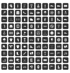 100 sneakers icons set black vector image