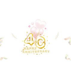 40th anniversary gold inscription with original vector image