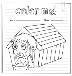 A worksheet showing a young boy vector image