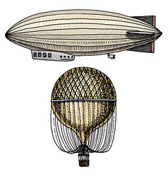 Airship or zeppelin and dirigible or blimp air vector