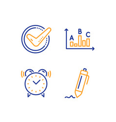 Alarm clock survey results and confirmed icons vector