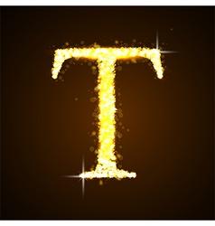 Alphabets T of gold glittering stars vector