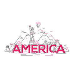 America - line travel vector