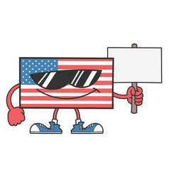 American flag cartoon with sunglasses holding vector