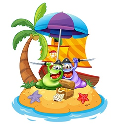An island with two pirate monsters vector image