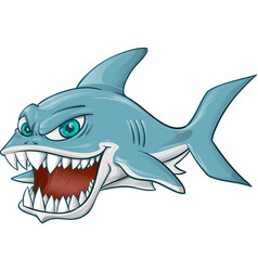 Angry shark cartoon on white background vector