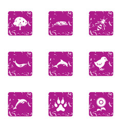 Animate essentiality icons set grunge style vector