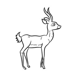 antelope cartoon - line drawn vector image