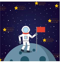 Astronaut solar system flat vector