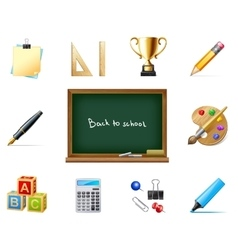 back to school with education icons vector image