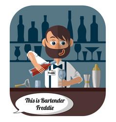 barman at the bar makes a cocktail vector image