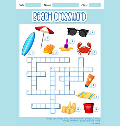 Beach element crossword template vector