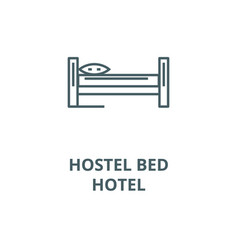 bed viewhostel hotel line icon bed view vector image